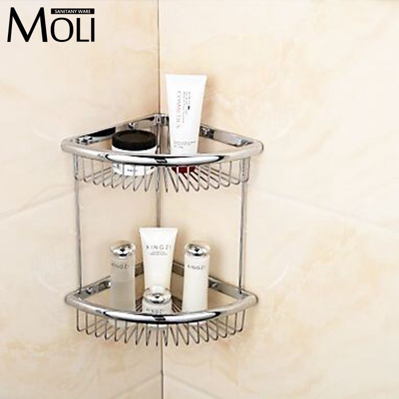 ФОТО Soild copper chrome finish corner basket double layer bathroom shelf wall mounted soap holder bathroom accessories