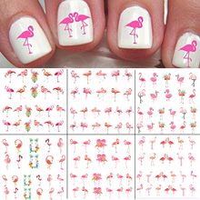 6sheets Flamingos Nail Water Decals Pink Bird Transfer Sticker Slide Osprey
