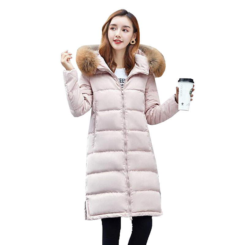 90% White Duck Down Coat 2018 New Fashion Women's Down Jackets Real Raccoon Fur Collar Hooded Thicken Long Parkas Winter Jacket