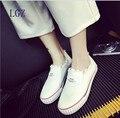 Calçados casuais 2016 Primavera e no Verão das Mulheres Sapatos de Plataforma de Lona Denim Um Pedal Preguiçoso Apartamentos Sapatos Casuais Única Fêmea sapato