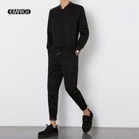 Spring Autumn New Men Jumpsuit Male Long Sleeve Casual Harem Pant Overalls Hip-hop Fashion Trousers  Black Jumpsuit Q252