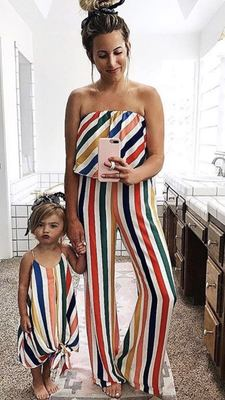 Strapless Mother Daughter Dresses Outfits Family Matching Clothes Sleeveless Rainbow Striped Mommy And Daughter Matching Clothes