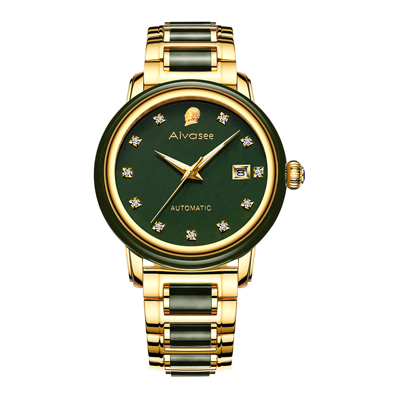Top Brand Emerald Hollow Automatic Waterproof Men's Stone Mechanical Watch Couple Watches Women's Jade Watch Relogio Masculino