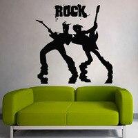 Dctopロックバンドギタリストウォールステッカー用キッズルームシルエットホームインテリア壁飾り男性でギタークリエイティブステッカ
