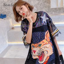 2019 Summer sequins patch designs dresses fashion women lace