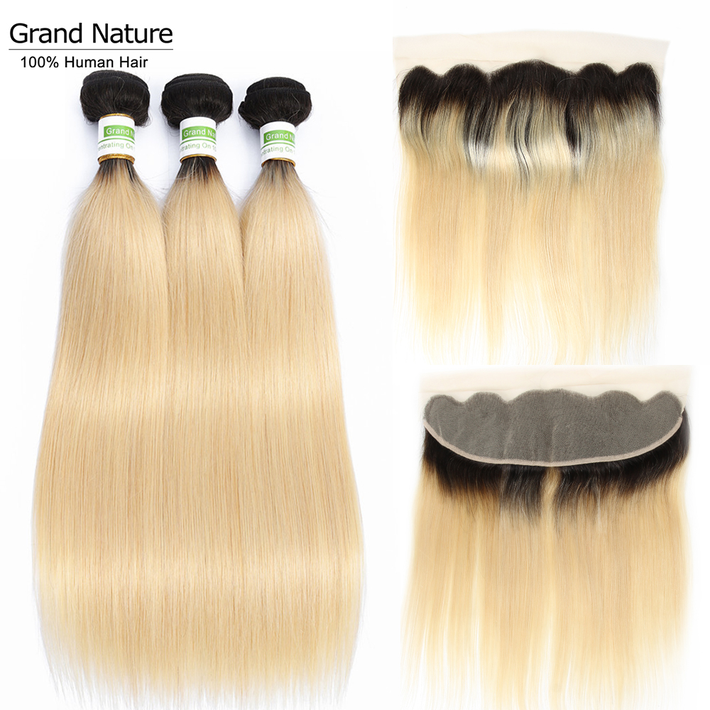 Peruvian Platinum 1b/613 Blonde straight Hair Wave Bundles with 13x4 Ear to Ear Lace Frontal Closure Remy Human Hair image