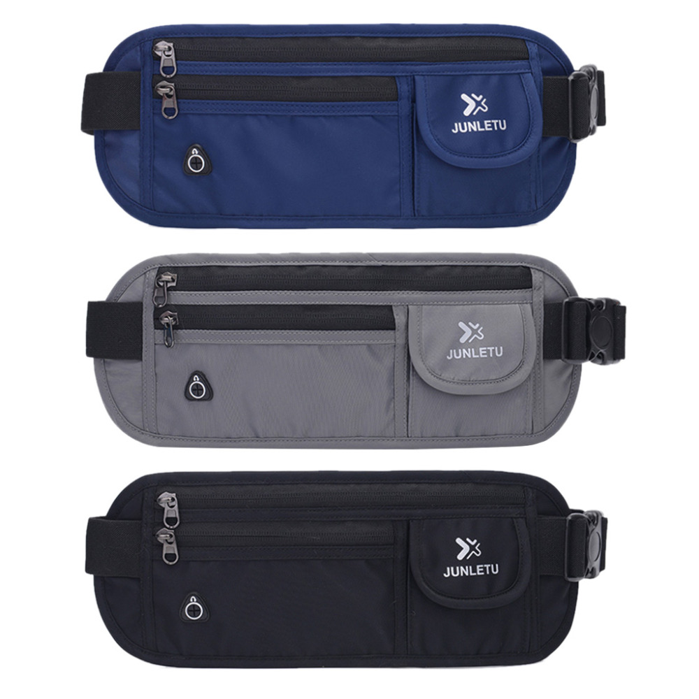 THINKTHENDO New Nylon Slim Travel Pouch Bag Hidden Compact Money Passport ID Waist Holder Bag