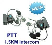Free Shipping 2PCS 1500m Motorcycle Helmet Intercom Interphone Headsets Talk FM 4 CH Wireless PTT