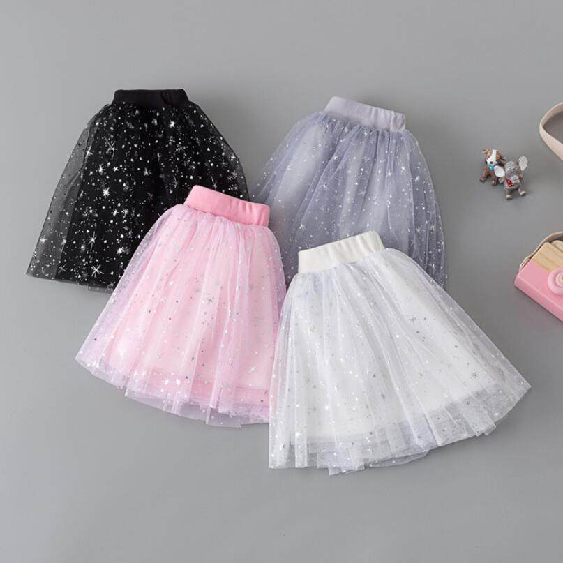 bc7816ac3eff2 2018 Children s Skirts Kids Baby Girl Multilayer Tulle Tutus Star Print Party  Dance Cake Tutu Skirts