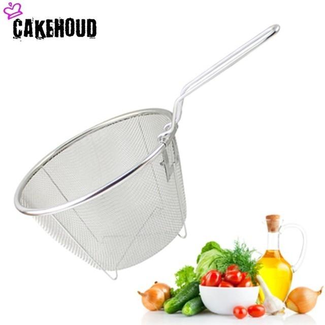 CAKEHOUD טיגון בישול כלים נירוסטה מתקפל עמוק מטוגן סל טיגון מחבת מסנן מסננת מזון. שמן דליפת. קקאו מסננת