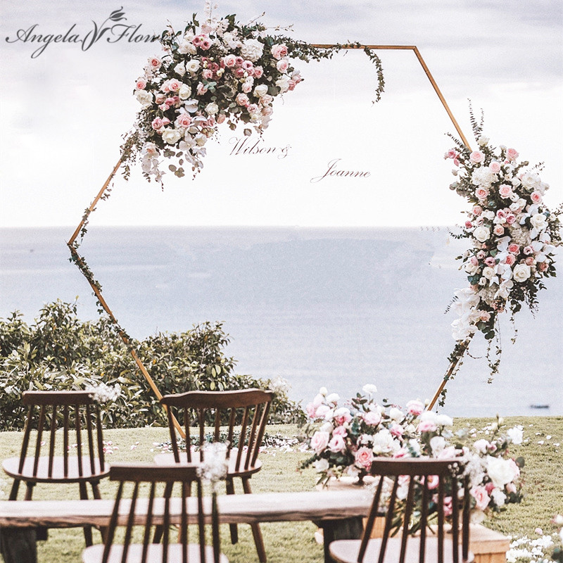 Wedding props hexagonal arch wedding diamond wrought arch iron shelf party decor backdrop road lead artificial