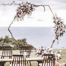 Свадебные реквизиты шестиугольная Арка свадьба алмаз кованая Арка железная полка вечерние декоративный фон Дорога свинец искусственный цветочный стенд золото