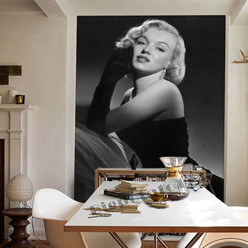 Classic Retro Black And White Character Monroe Entrance Photo Wallpaper Living Room Restaurant Simple Background Wall Paintings