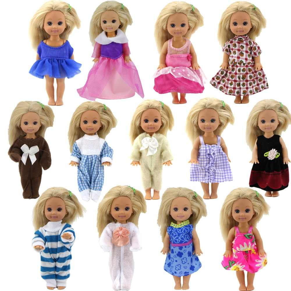 Random 5 Sets Mini Cute Outfit Dress Skirt Blouse Pants Daily Wear Clothes Accessories for Kelly Doll Baby Dolls 4 Inch Kids Toy