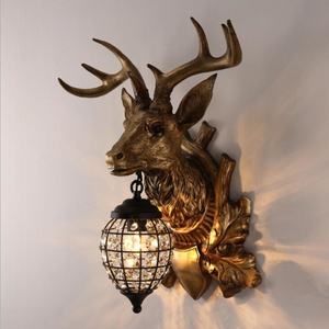 Lámparas de pared de cristal nórdico, lámpara de cabeza de ciervo para dormitorio, comedor, Bar, cafetería, luz decorativa Vintage para el hogar, luz de pared, Envío Gratis