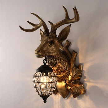 Nordic Crystal Wall Lamps Deer Head Lamp Bedroom Dining Room Bar Cafe Light Home Vintage Decoration Wall Light Free Shipping