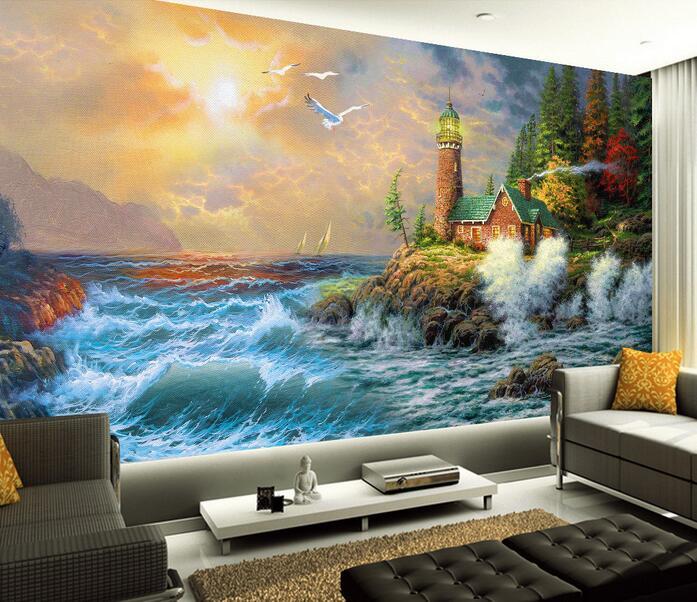 3d wallpaper custom mural non woven 3d room wallpaper TV backdrop painting  seaside houses murals photo 3d wall murals wallpaper-in Wallpapers from Home  ...