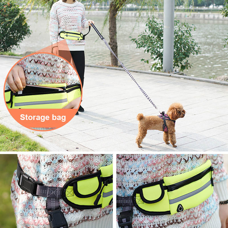Retractable hand free dog leash luminous walking lead morning jog Elastic pet leashes breast-band bungee belt with storage bag