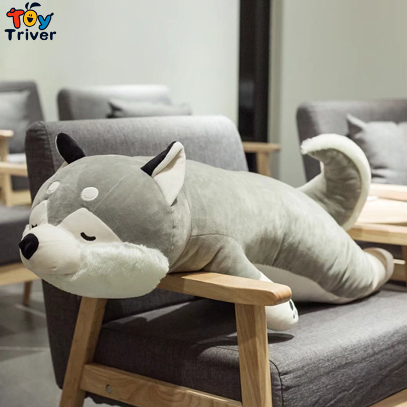 Plush Simulation Husky Dog Toy Stuffed Animal Doll Puppy Pet Pillow Cushion Kids Baby Birthday Gift Present Home Shop Decoration cute lie prone dog long pillow cushion bolster plush toy stuffed doll baby kids friend birthday gift home shop decor triver page 2