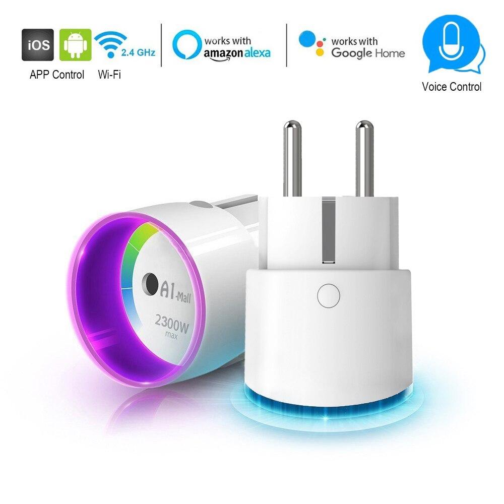 Tomada de Controle inteligente Plugue Wi-fi 2300 w 10A Poder de Monitoramento de Energia Interruptor Do Temporizador de Controle de Voz de Saída DA UE por Alexa Google casa IFTTT