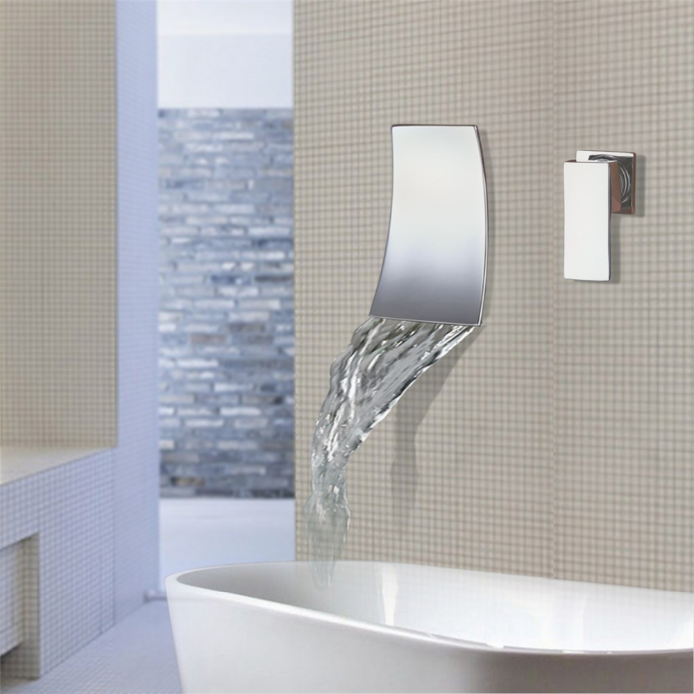 Wall Mounted Waterfall Bathroom Faucet Chrome Brass Spout Vanity Sink Tap New Bathroom Faucet
