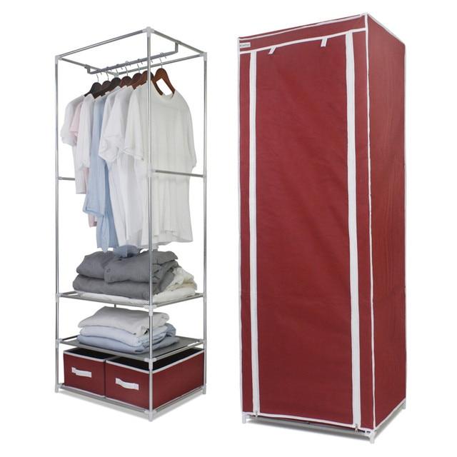 Elegant Finether Metal Framed Fabric Wardrobe Portable Clothes Closet Wardrobe  Non Woven Fabric Storage Organizer 2