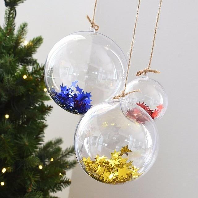 05ebf91c6ea 5 Unids lote Transparente Decoración De Navidad Colgante de Bolas de Bolas  Redondas Chuchería Ornamento