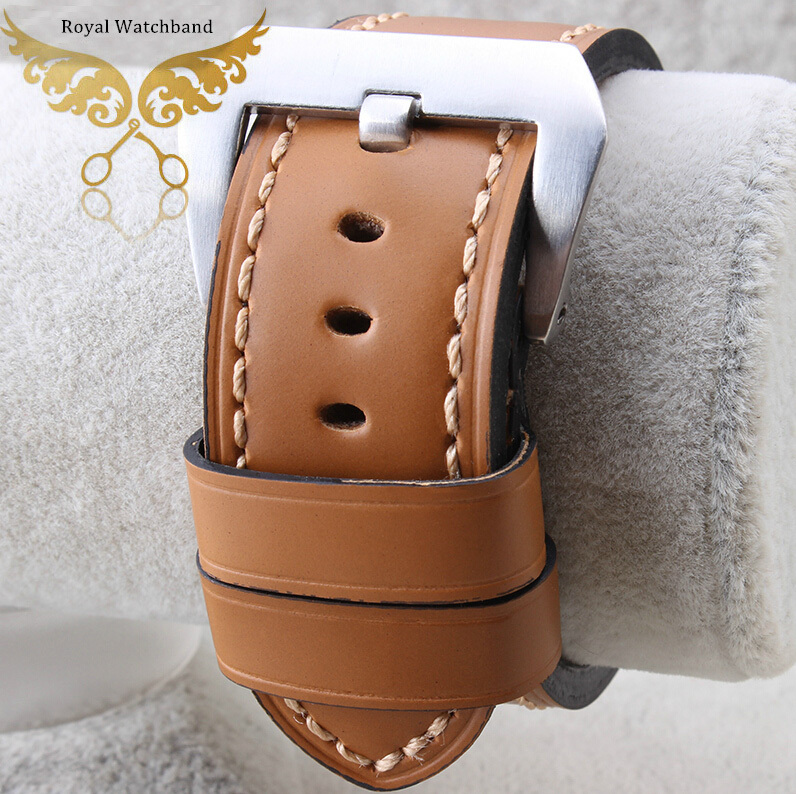 24mm NEW Brown Italy Genuine Leather Watch Band/Strap Brushed Clasp Buckle For P-A-N-E-R-A-I Fast Shipping new 24mm italy black genuine leather watch band strap silver brushed stainless steel buckle clasp for brand free shipping