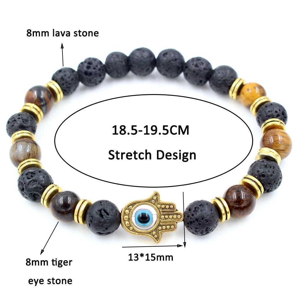 Γυναικείο βραχιόλι με ημιπολύτιμες πέτρες μάτι της τίγρης λάβα χέρι της φατιμά ενεργειακό κόσμημα φυλαχτό msow