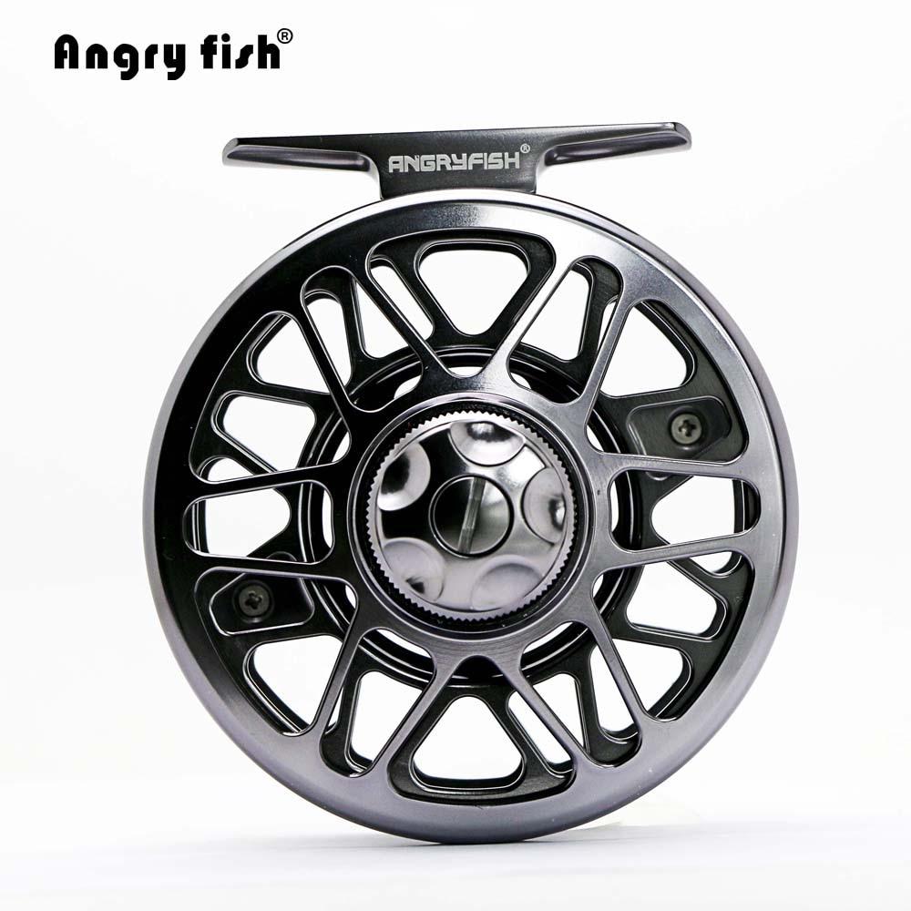 Angryfish Full Metal Fly Fishing Reel 2+1BB Aluminum Alloy Die Casting Fly Reel Fishing Reel with Large Arbor aluminum alloy fly fishing reel silver 0 30mm 200m