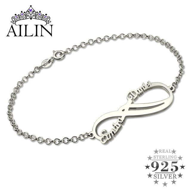 Silver Infinity Names Bracelet Personalized 2 Names Bracelet Infinity Bracelet Mother's Bracelet Custom Sister Gift