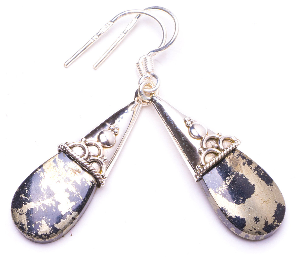Natural Apache Gold Stone Handmade Unique 925 Sterling Silver Earrings 1.5 Y1286