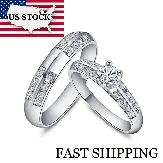 USA STOCK Uloveido 50% A Pair Couple Wedding Rings Set for Men and Women Silver Color Crystal Engagement Jewellery Hot Sale J511
