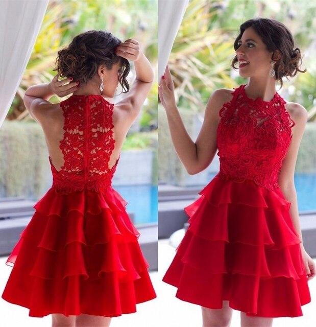 a4e9f4821f De Encaje rojo 2017 Vestido de Fiesta Apliques Cabestro Fuera del Hombro de  La Cremallera Volver