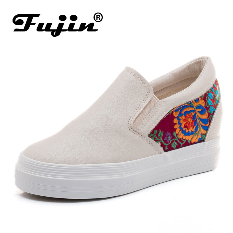 Fujin Brand 2018 Spring Summer Autumn Women Shoes Slip on Female Wedges Shoes Sneakers Floral Print Platform Lady Footwear