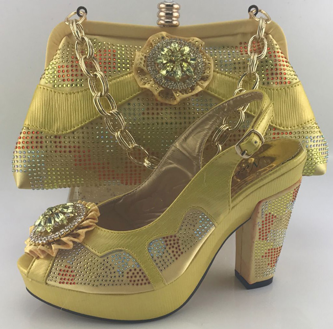 Hot Sale Africa Matching Shoe And Bag Set Fashion Summer Rhinestones Women Shoes And Bag Set
