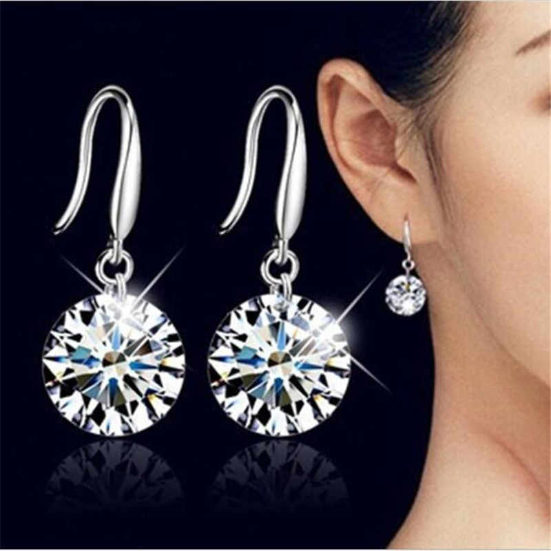 New Fashion Temperament Ear Hook Tiny Zircon Crystal Stud Earrings For Women Wedding Jewelry Boucle Mujer Brincos