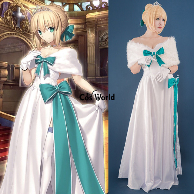 FGO Fate Grand Order 2nd Saber White Gown Formal Full Dress Uniform ...