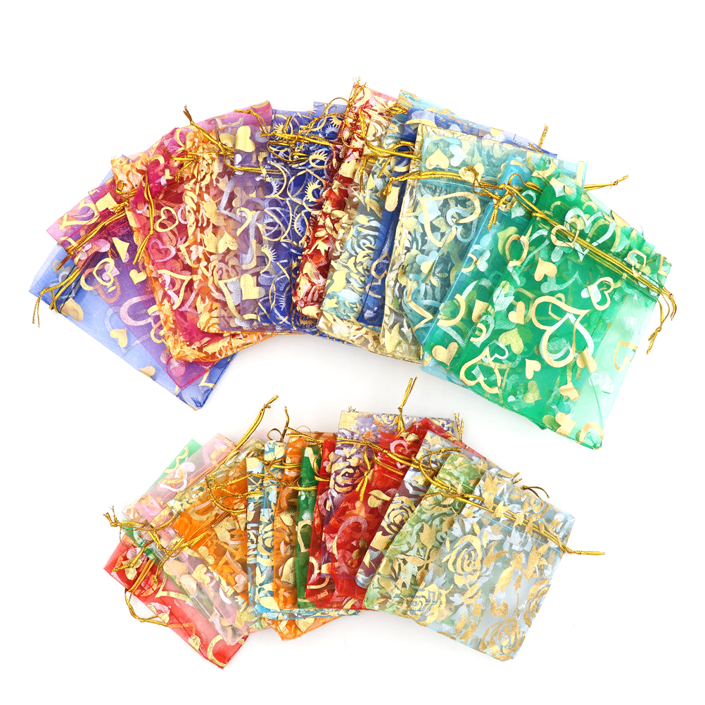 20pcs/lot Drawstring Bags Organza Bags Jewelry Packaging Drawable Bags Gift Pouches 7x9cm 3X4 Inch Mix Color
