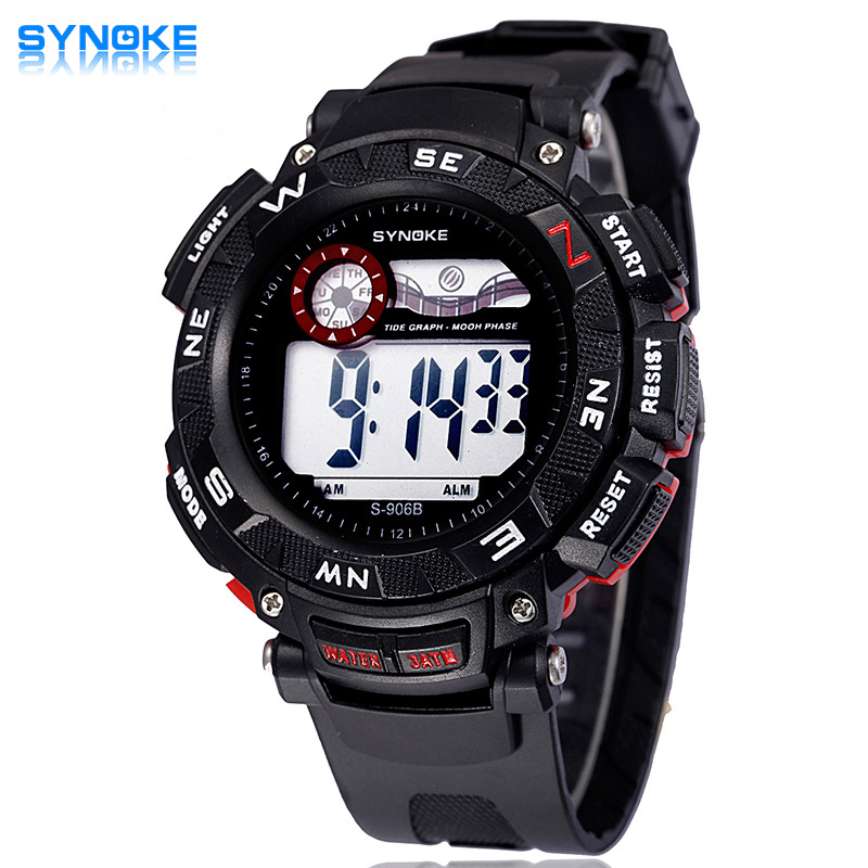 SYNOKE Men Watches Alarm-Date Clock Digital Sport Waterproof 3ATM Led-Display Erkek Saatler