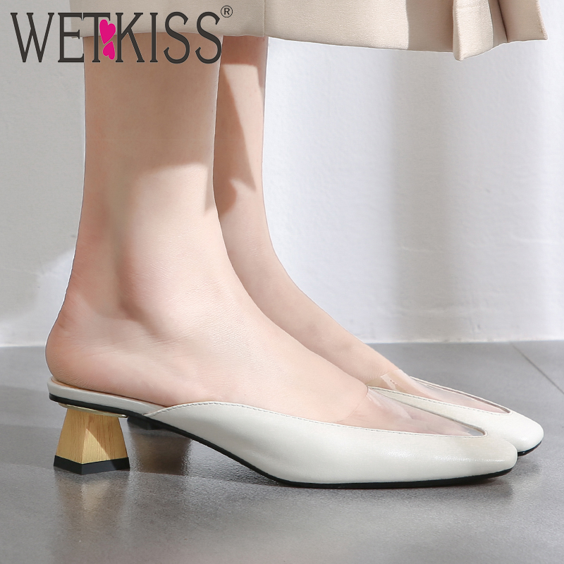 WETKISS شفافة شبشب بلاستيك من بولي كلوريد الفينيل المرأة مربع اصبع القدم الأحذية الجلدية الشرائح أحذية غير عادية كعب عالية البغال أحذية امرأة الصيف 2019-في شباشب من أحذية على  مجموعة 1