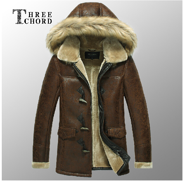 Men's New Arrival PU Wool One Piece Leather Jacket Medium-Long Detachable Cap Artificial Fur Coat Leather Clothing / M-XXXL