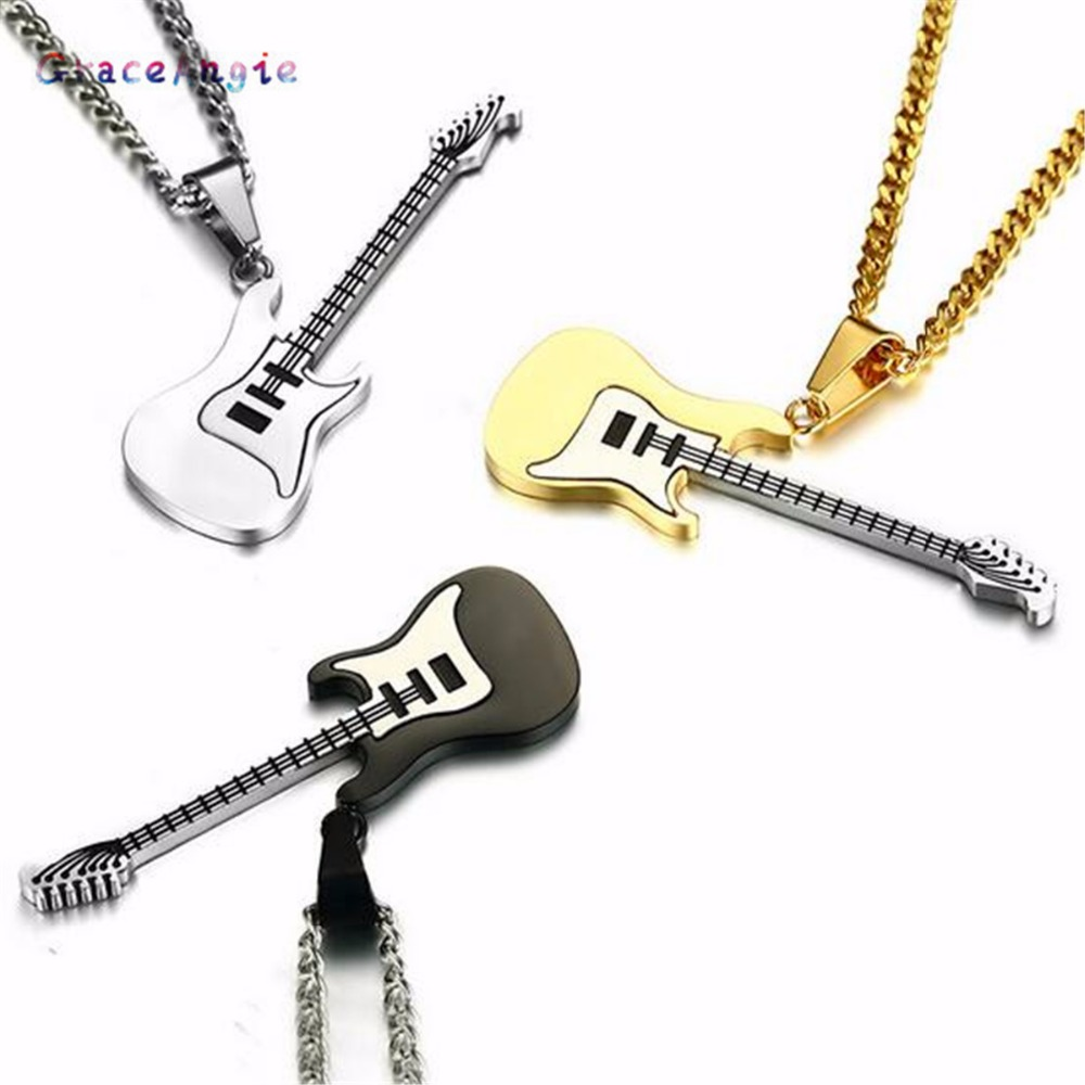 GraceAngie 1PCS Black Guitar Style Men Rope Chain Silver Pendant Fashion Necklace Charms Decoration Handmade Jewelry