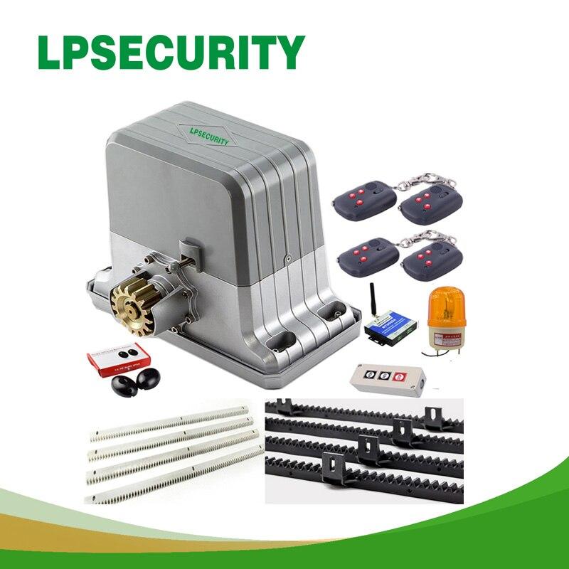 LPSECURITY heavy duty 1800kg electrical automatic sliding gate opener motor 5m/6m racks 1SENSOR1 lamp(GSM  RFID keypad optional)