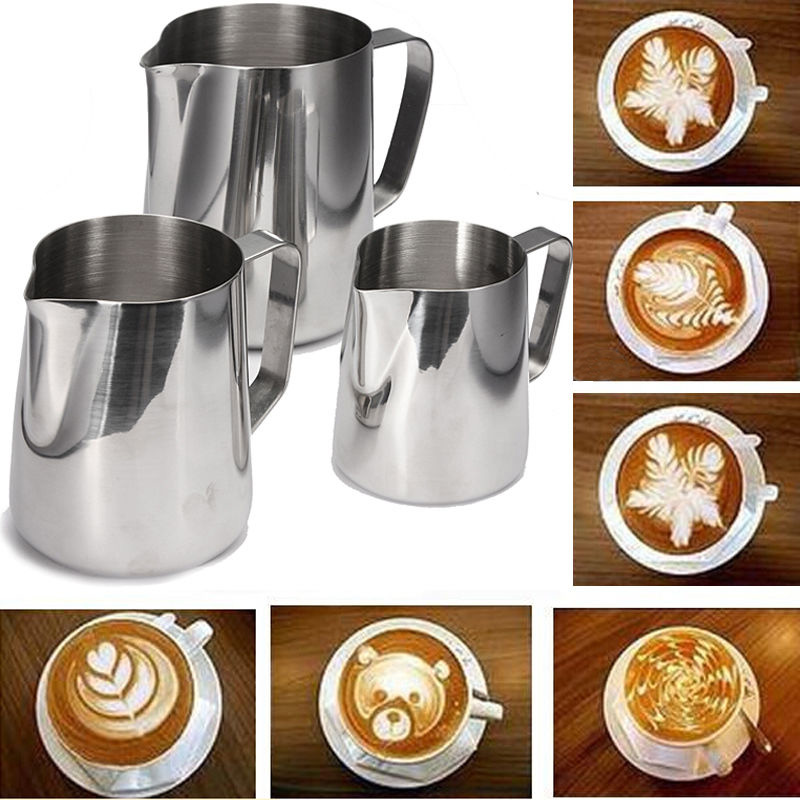 3506001000ML:  Stainless Steel Craft Coffee Milk Latte Jug Frothing Espresso Pitcher For Kitchen Coffeeware Tools 350/600/1000ML - Martin's & Co