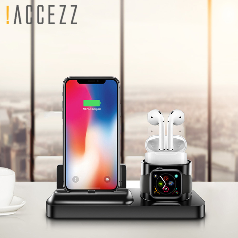 ACCEZZ 3 in 1 Wireless Charging Holder Stand Magnetic Phone Charger For AirPods Apple i Watch For Xiaomi Desk Charge Stand Dock in Mobile Phone Chargers from Cellphones Telecommunications