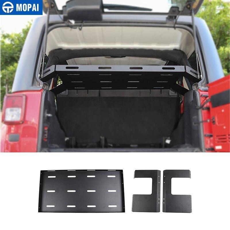 MOPAI supports arrière pour Jeep Wrangler 2007 + voiture hayon coffre de rangement étagère à bagages accessoires pour Jeep Wrangler JL JK 2018 +