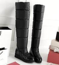 Free shipping Fashion Down Waterproof Knee-High Snow Boots,  women's Winter Down Warm Waterproof Snow Boots, 34-43
