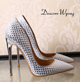 Free shipping 2016 new arrive women's sexy 10cm sequined cloth party heels,  fashion gold 8cm wedding pumps, 33-42