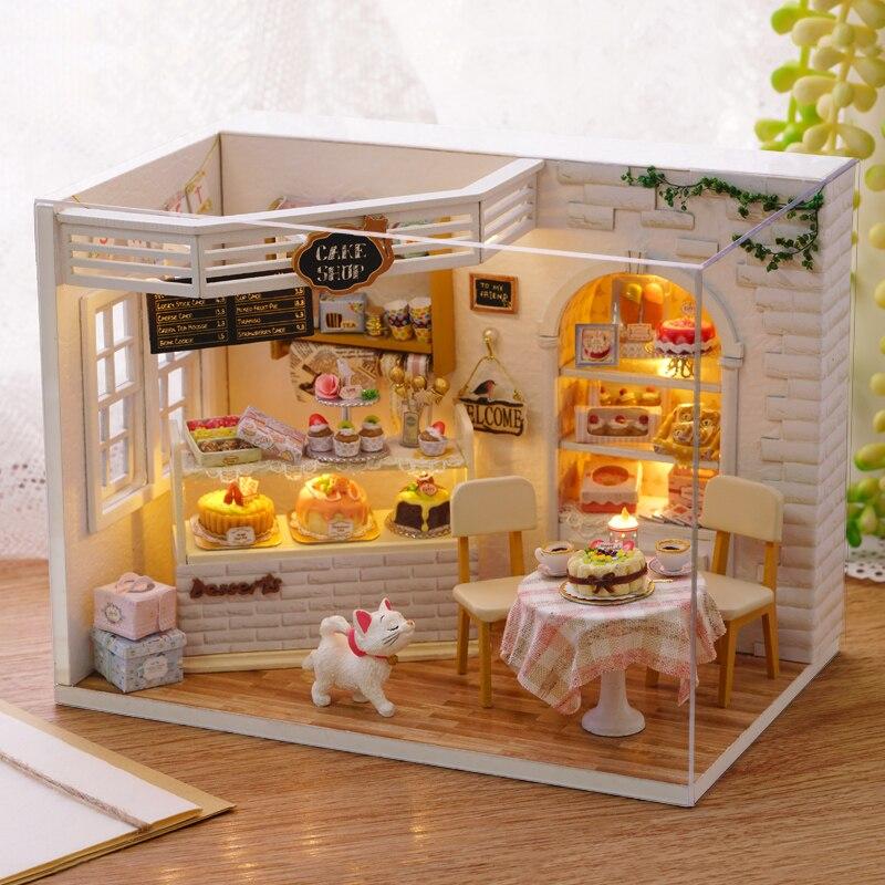 Poupée Maison Poppenhuis Miniature Main Casa De Boneca BRICOLAGE jouet D'anniversaire Dollhouse Handmake De Noël Cadeaux Chat Gâteau Journal ZH014